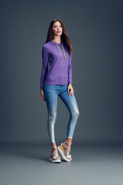 T-shirt Women's Fashion Basic Long Sleeve Hooded Tee ANVIL