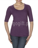 T-shirt Women?s Tri-Blend Deep Scoop 1/2 Sleeve Tee ANVIL ?>